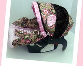 Pink Floral/Black Roses/Light Pink Minky Infant Baby Car Seat Cover with Bling Flower-Ready To Ship