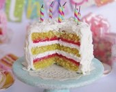 Vanilla Frosted 1:12 Birthday Cake With Candles by IGMA Artisan Robin Brady-Boxwell - Crown Jewel Miniatures
