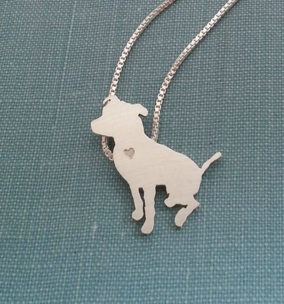 pitbull jewelry pitbull necklace sterling silver sitting pit bull 568