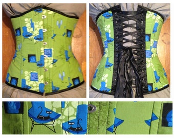 "50% off! Retro ""Shag"" kitty underbust corset, vintage lounge theme, 50s, 25.5"" waist, busk, green, made by Jupiter Moon 3"