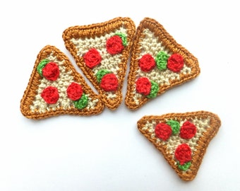 Crochet pizza slice - play food applique - kids party favors - pizza applique - embellishment - fake food - set of 3  ~2 x 1.8 inches