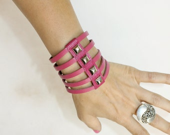 Multi Strand  Leather Bracelet Sliced Pink Cuff  Swarovski Crystals