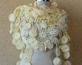 Ivory Shawl, Lace Shawl, Flower Shawl, Crochet Shawl, Crochet Scarf, Rainbow / Gold Glitter Ivory Bridal Shawl Capelet, Wedding Cover Up