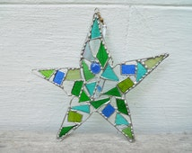 Stained Glass Star in Greens and Blues.