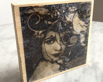 Wood block photo transfer - Nocturne - vintage female portrait, nostalgic, sepia, digitally altered, home decor