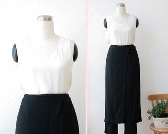 on SALE. 1990's Vintage Black Skirted Pants Large Black Pants L by Gideon Oberson
