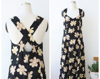 1990's vintage grunge summer dress M L, cross back dress, floral sundress medium large 31 waist
