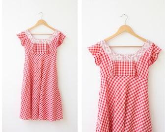 1960s Vintage Gingham Dress Small, Prairie Dress, Empire Waist Babydoll Dress