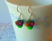 Kawaii Cupcake Earrings, Polymer Clay, Candyland Chocolate Frosting