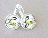Bird earrings dangle earrings nature earrings Chickadee earrings flower branch  everyday jewelry nature lovers gift for her bird jewelry