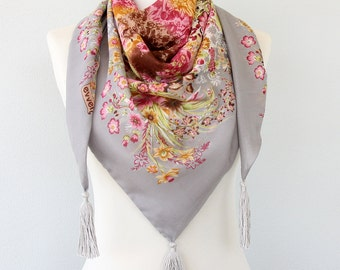 Grey boho scarf floral scarf triangle scarf summer wrap scarf tassel scarf necklace spring accessories women scarves gift for her