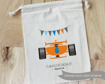 RACECAR - Personalized Favor Bags - Set of 10 - Birthday - racing - nascar - cars