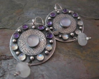 Large Sterling Silver Disk Rainbow Moonstone Amethyst Blue Chalcedony Ombre Earrings
