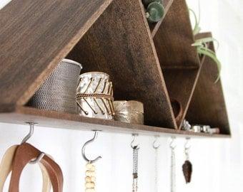 Mountain Jewelry shelf // Handmade wall decor // Jewelry display, wood shelving, home decor, wood wall shelf, jewelry storage, jewelry hooks