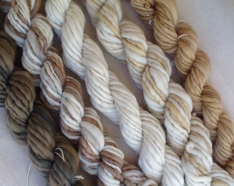 Mini Skeins  handspun hand spun hand dyed knitting crochet supplies wool yarn  Waldorf Doll hair merino baby photo pro