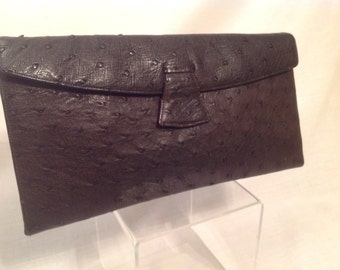 Vintage 1960 Brown Leather Clutch with Snap front and Interior Attached Coin Purse