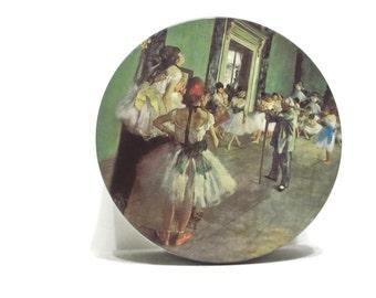 Vintage Degas Dancing Lessons, Round Metal Tin, Ballet Class Tin, Cottage Chic Metal Tin, Round Storage, Button Tin, Sewing Tin, Kitchen Tin