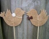 Burlap Love Birds Cake Topper ( 1 pair )