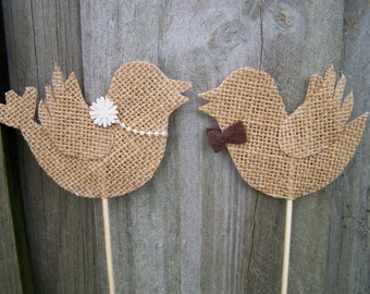 Burlap Love Birds Cake Topper ( 1 pair )