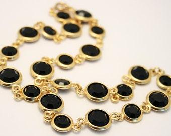Vintage necklace. Open back crystal necklace. Black crystal necklace
