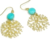 Coral Reef Earrings - Dangle Earrings - Sea Life - Turquoise Earrings - Ocean - Beach - Summer - Boho Chic - Nature - Statement
