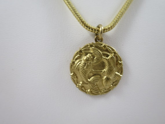 pisces pendant necklace gold tone disk 2 swimming fish