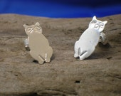 Silver Cat StudsHandmade Sterling Silver Cats Cat Jewellery Animal Jewellery 925 Silver Cat Earrings