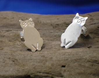 Silver Cat Studs,Handmade, Sterling Silver, Cats, Cat Jewellery, Animal Jewellery, 925 Silver, Cat Earrings