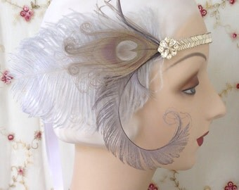 1920's style flapper headband vintage silver beaded band, rhinestones and silver grey peacock and ostrich feathers