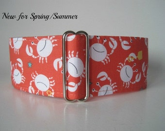 2 Inch Martingale Collars, Coral Martingale Collar, Crab Martingale Dog Collar, Crab Dog Collar, Coral Dog Collar, Preppy