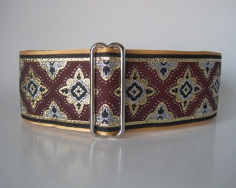 2 inch Martingale Collar, Burgundy Martingale Collar, Jacquard Dog Collar, Burgundy and Gold, Greyhound Collar, Burgundy Dog Collar