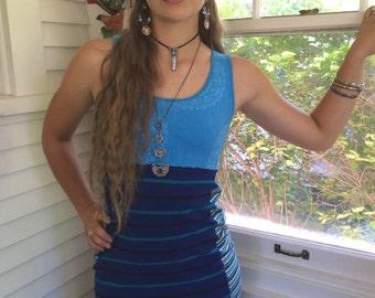 Eco Tank dress,  Size M /L, fitted mini dress, stretch mini dress, upcycled dress, blue dress, striped dress, festival dress, Dress,  Zasra