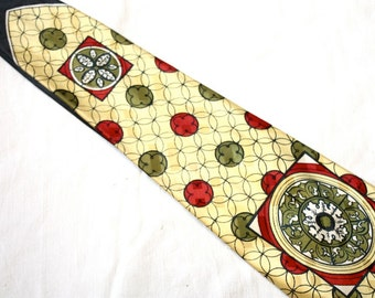 Vintage 1940's / 50s Men's  Necktie / Floral USA / Art Deco