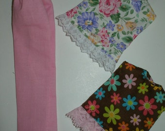 "Handmade 11.5"" Fashion doll clothes - pink pants and 2 floral tops with lace trim"