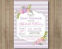 Pastel Lilac Baby Shower Floral Invite. Baby Shower. Digital Invitation. Light Purple. Flowery.