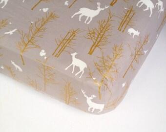 Mini Crib Sheets - Metallic Gold Changing Pad Cover / Fitted Crib Sheet / Crib Sheet Bedding / Elk Baby Sheet /Woodland Baby Bedding