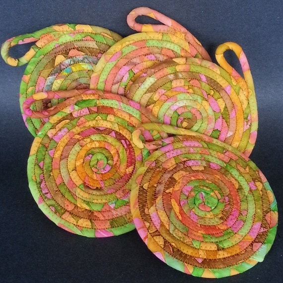 Festive Coasters coiled fabric coasters by JKTextileArts on Etsy