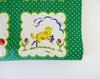 Vintage Fabric / 1940s Fabric 1950s Fabric / Novelty Print / Juvenile Print Green Polka Dot / Lamb Sheep / Pennsylvania Dutch Hex Signs