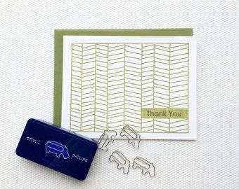 Herringbone Thank You Card (Gocco printed)