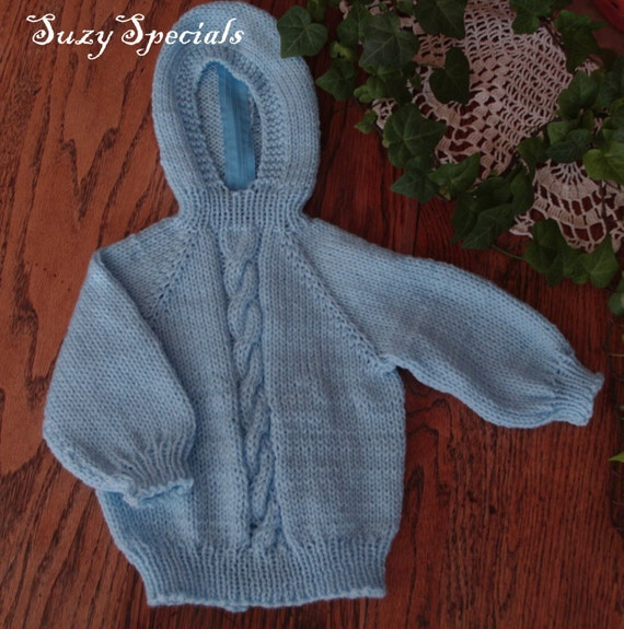 Hooded Knitted Baby Sweater with Back Zipper