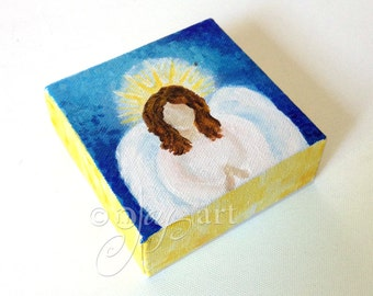 Angel painting, Daily Doodle 6/7/15 4x4 Miniature acrylic canvas painting