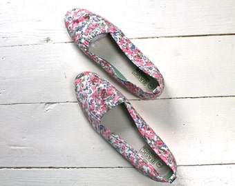 vintage floral skimmers - ROSA CANINA 90s canvas flats / sz 9 (deadstock)