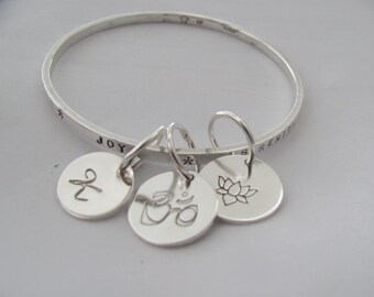 "Thick Thin Band Bangle with Three 5/8"" discs in sterling silver"