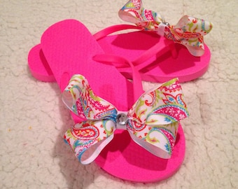 Summer Paisley Bows For Toes Flip Flops