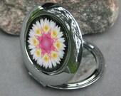 Lotus Flower Compact Mirror Pocket Mirror Zen Boho Chic Mandala New Age Sacred Geometry Hippie Kaleidoscope Profound Soul