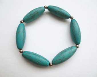 """Vintage TURQUOISE and SILVER Stretch BRACELET 7- 71/2"""" +"""