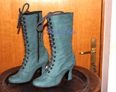 BIG SALE  Last pair Size 6 US / 37 European  Zipped Green leather Victorian Boots Dark Green Ankle Boots  Edwardian shoes