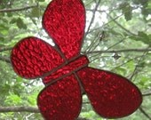 Royal Red Stained Glass Butterfly Suncatcher Ornament