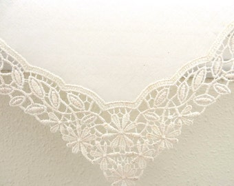 Bridal Accessories: Wedding Handkerchief, Cream Color German Plauen Lace Handkerchief Style No. 40933 with Classic 3-Initial Monogram