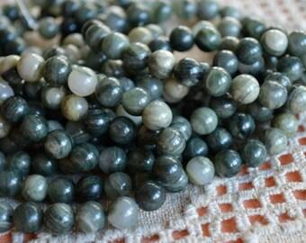 40pcs 10mm Green Line Jasper Natural Gemstone Beads 16 Inches